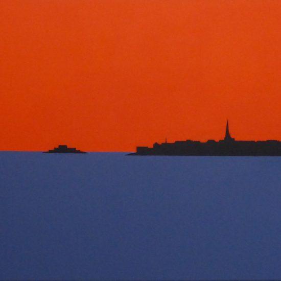 couche de soleil sur St Malo et fort national 81x65