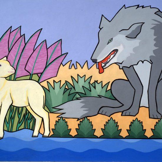 le loup et lagneau 100x81